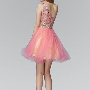 Fuchsia One Shoulder Evening Short Dress